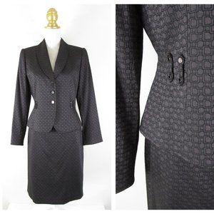 Tahari Petite Brown Black Skirt Suit Career Formal